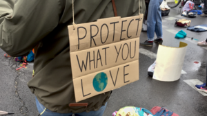 Schild bei einer Klimademonstration: ´Protect what you love.´