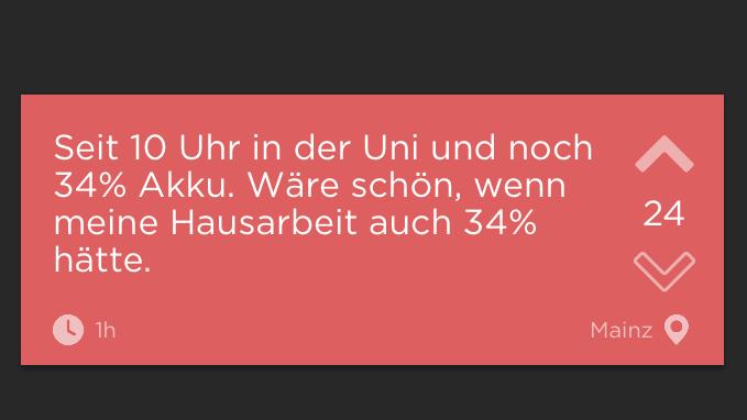 Ein Screenshot Von Einem Text Auf Der App Jodel. Weißer Text Auf Rosa  Hintergrund.